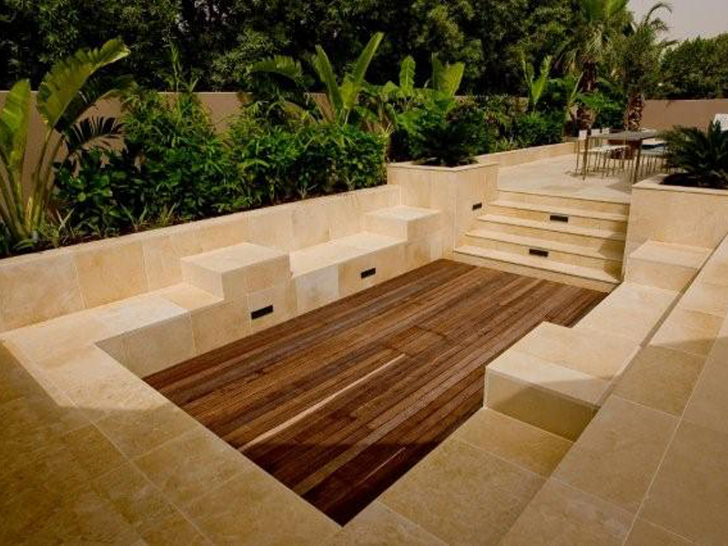Hardscape in a private villa constructed by Desert Group